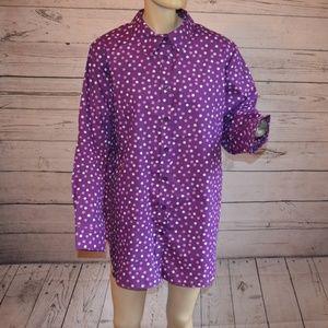 Woman Within Purple Polka Dot Button Up Shirt 1X